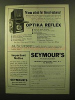 1958 Optika Reflex Camera Ad - Asked for Features
