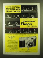 1958 Ricoh 500 Camera Ad - Not With a Movie Camera