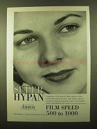 1958 Ansco Super Hypan Film Ad - Speed 500 to 1000
