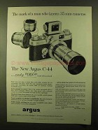 1957 Argus C-44 Camera Ad - The Mark of Man who Knows