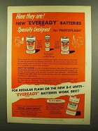 1953 Eveready Photoflash Batteries Ad - Here They Are
