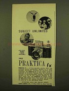 1953 Praktica FX Camera Ad - Subject Unlimited