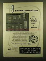 1950 Bausch & Lomb Animar Lens Ad - 25mm, 37.5mm +