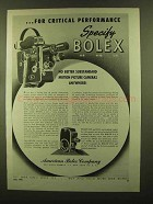 1945 Bolex Movie Cameras Ad - Critical Performance
