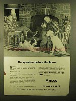 1944 Ansco Cykora Paper Ad - Question Before House