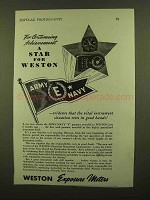 1943 Weston Exposure Meter Ad - A Star For Weston