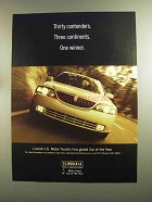 2000 Lincoln LS Car Ad - Thirty Contenders One Winner