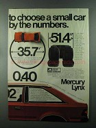 1984 Mercury Lynx Car Ad - Choose By The Numbers