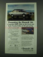 1981 Renault 18i Car Ad - Matches BMW 320i on Track