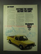 1981 Volkswagen Pickup Ad - Horse Before the Cart