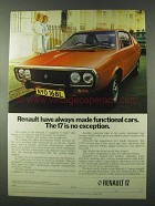 1973 Renault 17 Car Ad - Always Made Functional Cars