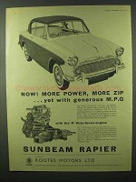 1956 Sunbeam Rapier Car Ad - More Power, More Zip