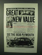 1938 Plymouth Cars Ad - Great New Value