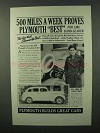 1937 Plymouth Car Ad - 500 Miles A Week Proves Best