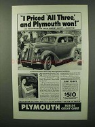 1936 Plymouth Car Ad - I Priced All Three