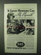 1933 Plymouth Cars Ad - A Sweet-Running Car