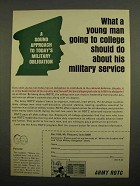 1966 Army ROTC Ad - Young Man Going to College