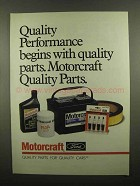1992 Ford Motorcraft Parts Ad - Quality Performance