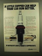 1984 Autolite Spark Plugs Ad - A Little Copper Can Help