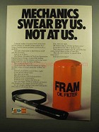 1983 Fram Oil Filter Ad - Mechanics Swear By Us