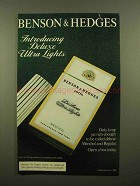 1982 Benson & Hedges Deluxe Ultra Lights Cigarettes Ad