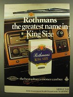 1978 Rothmans King Size Cigarettes Ad - Greatest Name