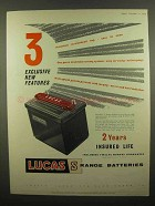 1959 Lucas S Range Batteries Ad - 3 Exclusive Features