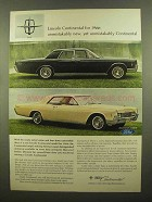 1966 Lincoln Continental Ad - Unmistakably New