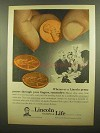 1965 Lincoln National Life Ad - Penny Passes Fingers