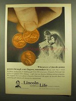 1965 Lincoln National Life Ad - Whenever a Penny Passes