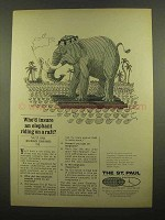 1965 The St. Paul Insurance Ad - Elephant on a Raft