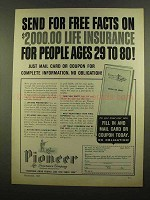 1965 Pioneer Life Insurance Ad - Send For Free Facts
