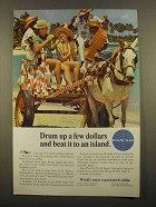 1965 Pan Am Airlines Ad - Drum Up a Few Dollars