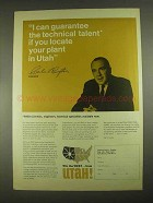 1967 Utah Development Ad - Governor Calvin L. Rampton