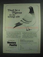 1967 Western Pacific Railroad Ad - Don't be a Pigeon