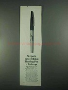 1967 Scripto Refillable Reading Pen Ad - Is For Keeps