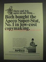 1967 Apeco Super-Stat Copier Ad - Hertz and Avis