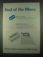 1967 Schick Razor Blades Ad - End of the Blues