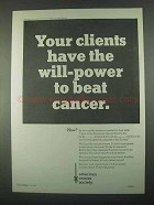 1967 American Cancer Society Ad - Will-power to Beat