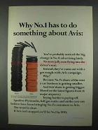 1967 Avis Rent-A-Car Ad - No.1 Has to Do Something