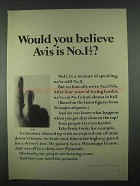 1967 Avis Rent-A-Car Ad - Would You Believe No. 1 1/2?