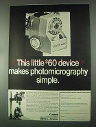 1967 Canon Booster Meter Ad - Photomicrography Simple