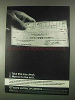 1967 State Mutual of America Ad - Take This Pay Check