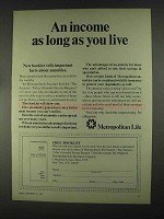 1967 Metropolitan Life Ad - Income As Long As You Live