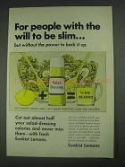 1967 Sunkist Lemons Ad - People With Will To Be Slim