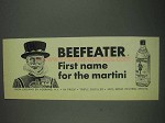 1967 Beefeater Gin Ad - First Name for the Martini