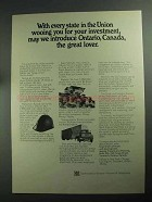 1968 Ontario Canada Ad - Every State in the Union