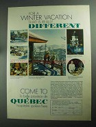 1968 Quebec Canada Ad - For a Winter Vacation