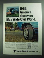 1968 Firestone Wide Oval Tires Ad - America Discovers