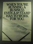 1968 Pitney-Bowes Postage Meter Ad - Running Business